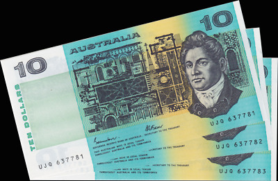 1985 R309 $10 Note Paper Johnston/Fraser Trio about Uncirculated