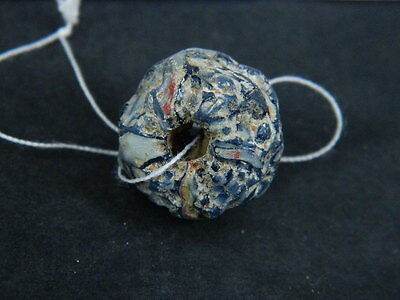 Ancient Mosaic Glass Bead Roman 200 BC NO RESERVE #BE5060