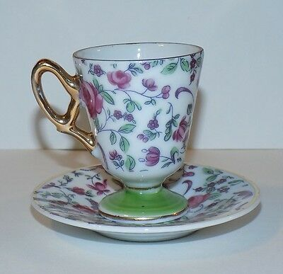 Antique Fancy Inarco Floral Footed Demitasse Tea Cup & Saucer Set