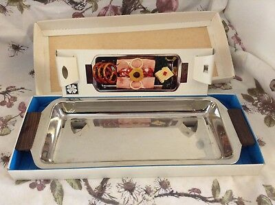 Vintage Stainless Steel Teak Serving Dish 70s Boxed Abigail's Party Cheese Retro