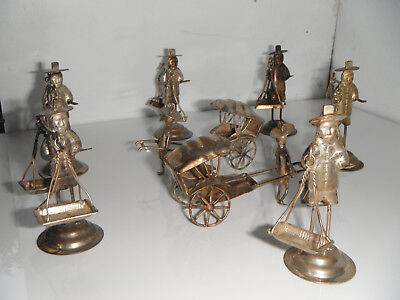 Set of 8 Chinese Miniature Silver Figure Card Place Menu Holder Vintage