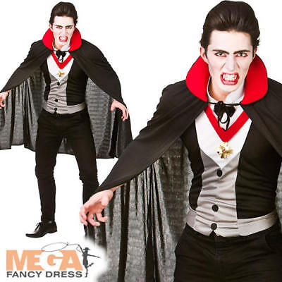 ADULTS VAMPIRE HALLOWEEN COSTUME CLASSIC DRACULA GOTHIC OUTFIT MENS FANCY DRESS