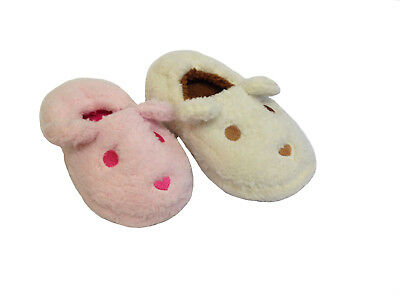 Kids Girls Infants Fluffy Soft Flat Pull-On Indoor Slipper Boots Booties Shoes
