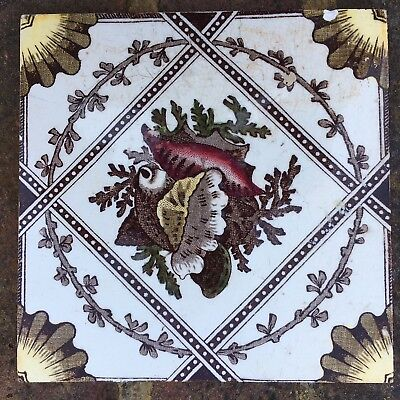Victorian Ceramic Tile w/ floral & shell design