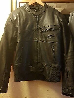 """Rhino Motorcycle Leather Jacket Size Uk 44"""" Chest With Shoulder Armour"""