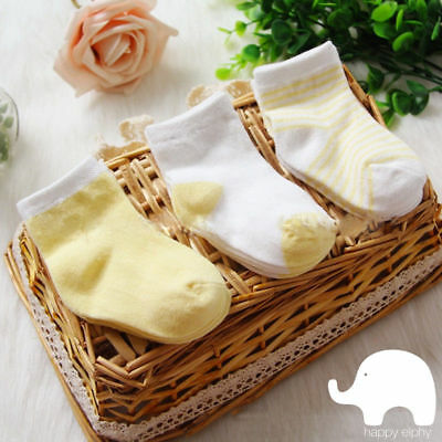 3 pairs Yellow Unisex Newborn Baby cotton Socks girls boys cute kids Summer