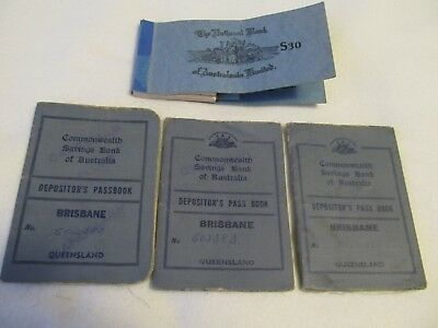 3 Qld Commonwealth Bank Deposit books 1951 - 1960's, NAB Cheque book butts
