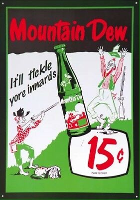 Mountain Dew 15 Cents Tin Sign 12X17 (New)