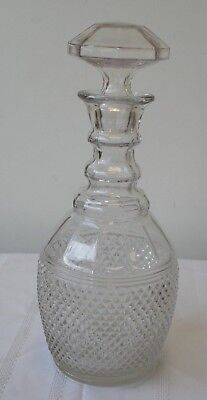EAPG Diamond Point 3 Ring Decanter with Stopper 4 part mold  pattern glass