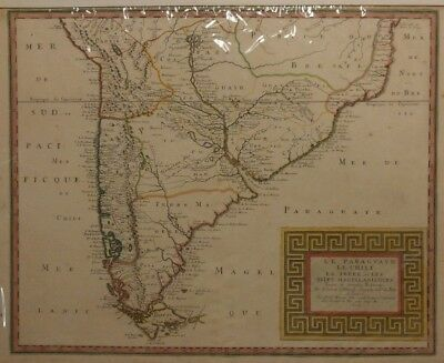 "1656 South America Map Paraguay & Chili, Hand Tinted 17""x23"" , (See Description)"