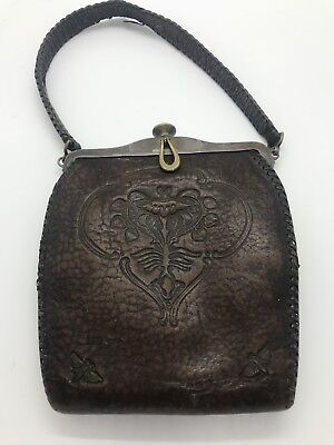 Antique Art Nouveau Deco TURNLOC Leather Meeker Purse Beautiful