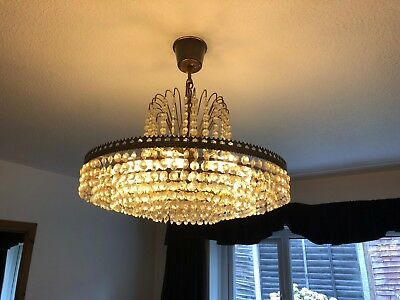 Vintage Mid Century 1950s Brass Crystal Glass 6 Tier Chandelier
