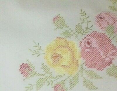 """Large Cross Stitch Flower Design Hand Embroidered Table Cloth 87"""" X 57"""""""