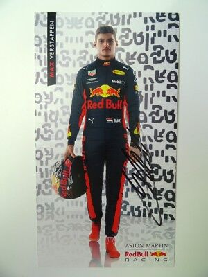 Max Verstappen 2018 Red Bull Racing F1 Formula 1 signed card autograph
