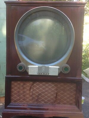 """1950s ZENITH PORTHOLE Television 18"""" Circular TV Screen. Vintage. Classic."""