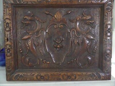 Antique Carved Walnut Panel Door Griffins and Green Man