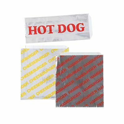 Printed Foil Hamburger, Cheeseburger and Hot Dog Sacks 24 Each of Hamburger a...