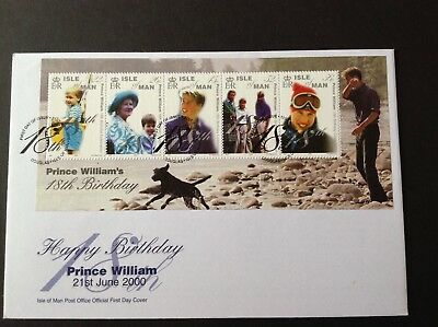 ISLE OF MAN 2000 FIRST DAY COVER PRINCE WILLIAM'S 18th BIRTHDAY MS