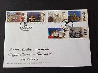 ISLE OF MAN 2007 FIRST DAY COVER ROYALCHARTER LIVERPOOL 800th ANNIVERSARY