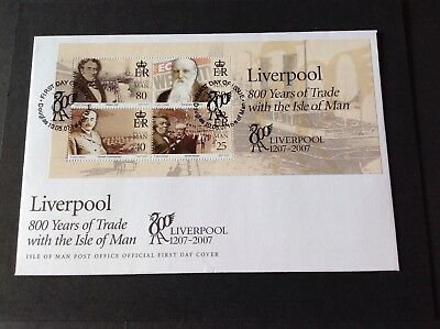 Isle Of Man 2007 First Day Cover Liverpool 800 Years Of Trade Minisheet
