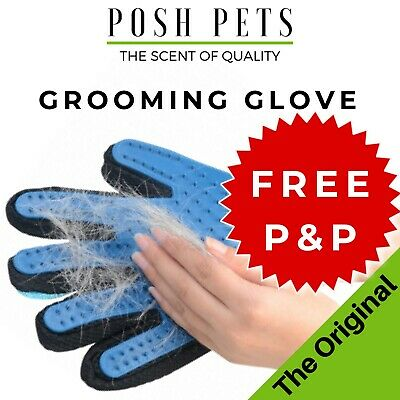 True Touch Pet DESHEDDING GROOMING GLOVE Mitt Brush For Shedding Pets Dog Cat