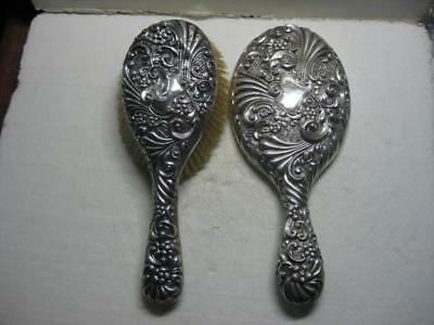 Antique Vintage Sterling Silver Two Piece Dresser Vanity Set Mirror And Brush