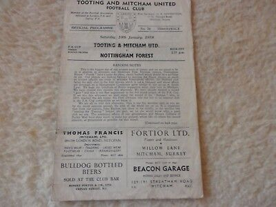 58/59 Tooting & Mitcham V Nottingham Forest   Fa Cup