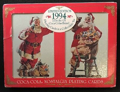 1994 Coca-Cola Santa Claus Christmas Playing Cards Limited Edition Two Decks