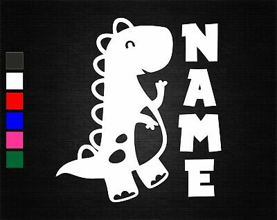 Personalised Name And Cute Dinosaur Wall/door Art Vinyl Sticker 19Cm X 15Cm