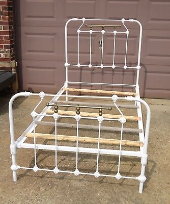 Antique Victorian White Wrought Iron & Brass Twin Size Bed