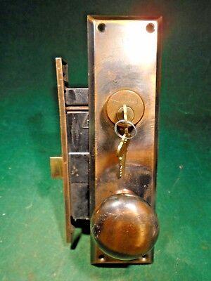 JAPANNED MORTISE LOCK w/KEY & BACKPLATES & KNOBS - BEAUTIFUL - WOW! (10798)