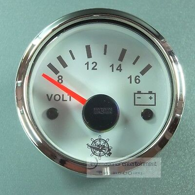 VOLTMETER  INSTRUMENT WEISS GAUGE 12V  AUTO  8-16V  52mm  Chromring metall