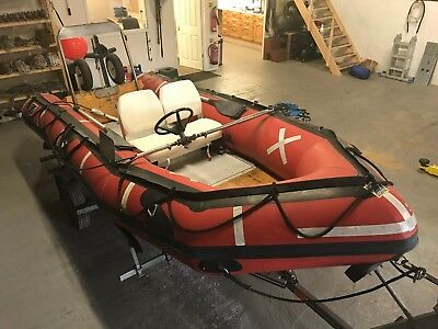 4.7M (15.4Ft) Zodiac Sib Inflatable Boat With Steering, Seats And Snipe Trailer