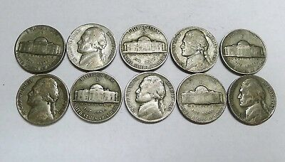 Lot of 10 Silver WAR Nickels! 1942-1945. No Damaged or Cleaned Coins!