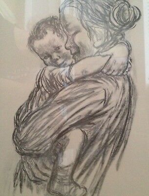 Kathe Kollwitz Mother and Child - Vintage charcoal print signed