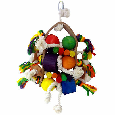 25cm Firework Wooden Parrot Bird Toy For African Greys, Amazons, Cockatoos 3526