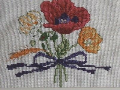 Poppies completed mounted counted cross stitch picture