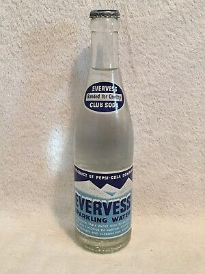 RARE FULL 12oz EVERVESS SPARKLING WATER ACL SODA BOTTLE PEPSI-COLA CHICAGO, ILL