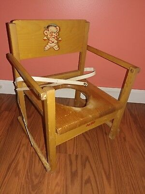 Vintage OAK HILL Wood Fold Up Childs Potty Training Seat Childrenu0027s Chair