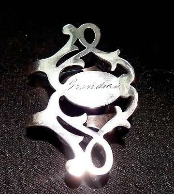 Openwork Scroll Engraved Grandma Napkin Clip Sterling Silver Lunt ~1940