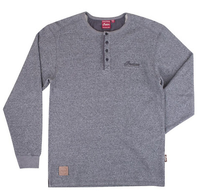 Indian Motorcycle Mens Gray Waffle Henley L/s Tee Script Logo Patch S M L Xl 2X