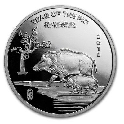 2019 Chinese Lunar Calendar Year Of The Pig 1 oz .999 Silver USA Made BU Round