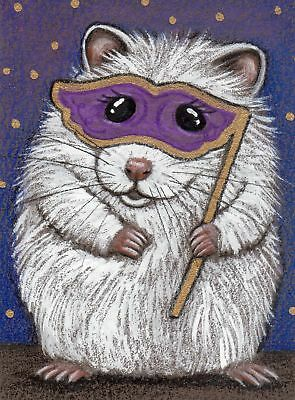 Original Aceo Halloween Hamster with Masquerade Mask