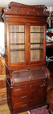 Antique Mahogany Late Victorian Cylinder Roll Secretary Desk Bookcase c1900