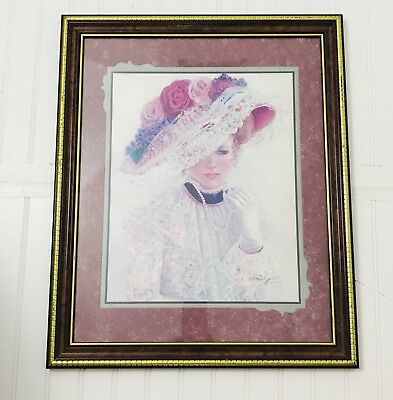 """Home Interiors Vtg Picture """"The Garden Party"""" Victorian Lady"""