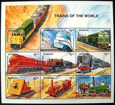 1995 Antigua & Barbuda Train Stamps Sheet Of 9 Trains Of The World Steam Diesel