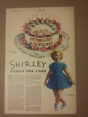 1936 Shirley Temple Takes The Cake Article 7th Birthday