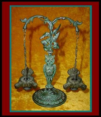 ANTIQUE Bronze ROMAN / GREEK Style OWL & VINE STAND w/2 Hanging OIL LAMPS /Lamp