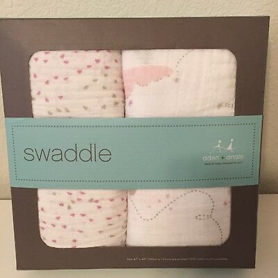 Aden and Anais 2 Pk Swaddle Blanket Set Lovely Muslin 47in x 47in Hearts Clouds