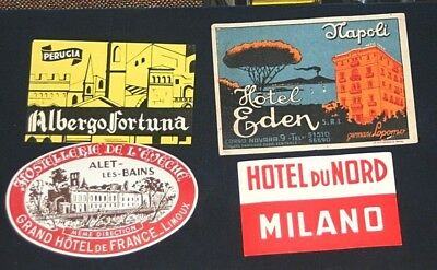 Set of 4  Vintage Luggage Labels Grand Tour European Hotels-Unused-ca1920's